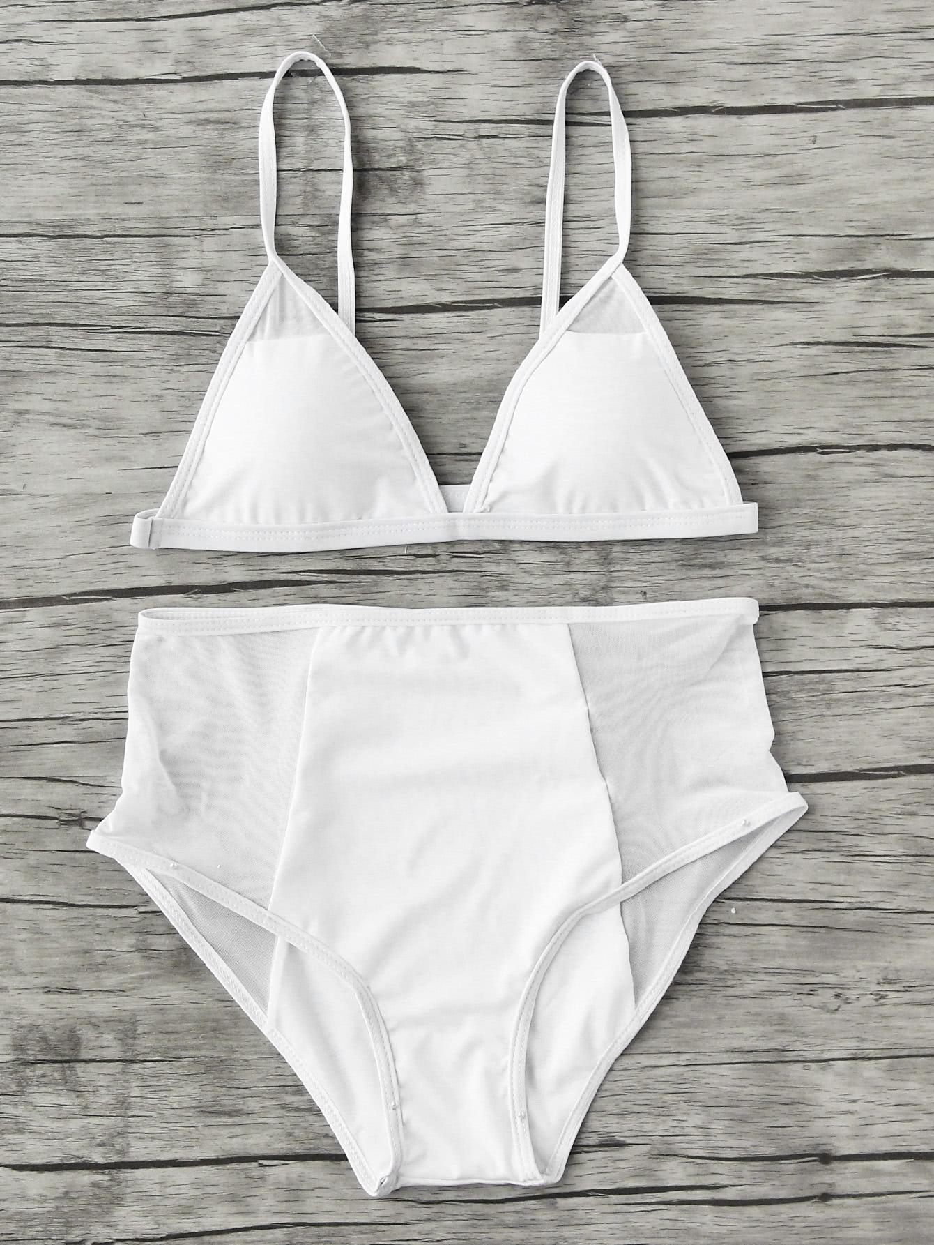 Фото Mesh Insert High Waist Triangle Bikini Set. Купить с доставкой