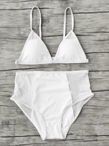 Dreiecke Bikini Set mit Netzstoff und hoher Taille