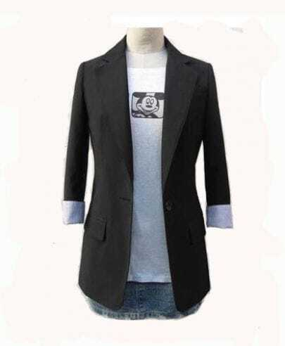 One Buckle Fashion Simple Black Suit