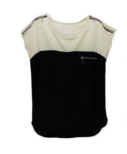 Summer Zipper Beige black T-shirt