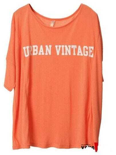 Orange URBAN VINTTAGE Print Batwing Short sleeve t-shirt