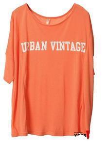 Orange URBAN VINTTAGE Print Batwing Short sleeve t-shirt