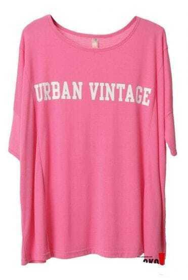 Pink URBAN VINTTAGE Print Batwing Short sleeve t-shirt