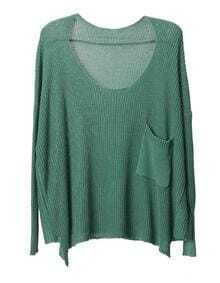Vintage Bat sleeve Solid sweater-green