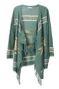 Bohemian fringed irregular cardigan green