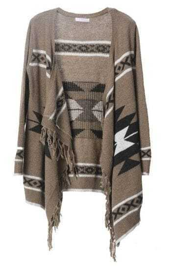 Bohemian fringed irregular cardigan coffee