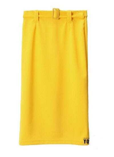 Vintage buckle Stretch pencil skirt yellow