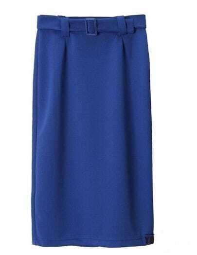 Vintage buckle Stretch pencil skirt blue