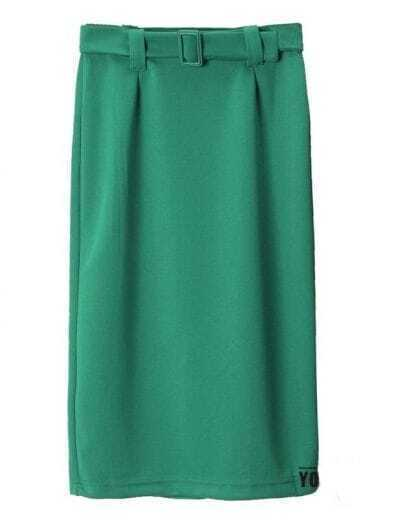 Vintage buckle Stretch pencil skirt green