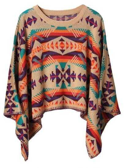 Geometric pattern colorful square sweater