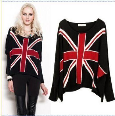 England Flag Bat sleeve black sweater