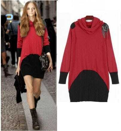 Red and Black long Slim cotton sweater
