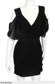 Sexy V-neck Chiffon Party Dress black
