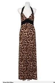 Sexy Leopard Halter Maxi Dress