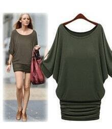 Plain Dark Green Split Sleeves Tunic Dress