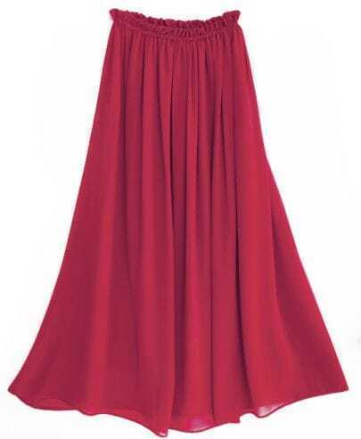 Chiffon Vintage Floor Length Skirt Red