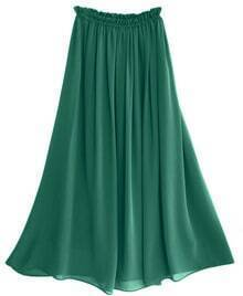 Chiffon Vintage Floor Length Skirt Green