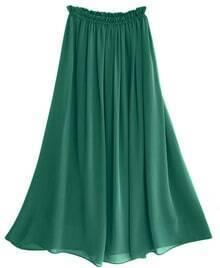 Chiffon Vintage Floor Length Skirt Green