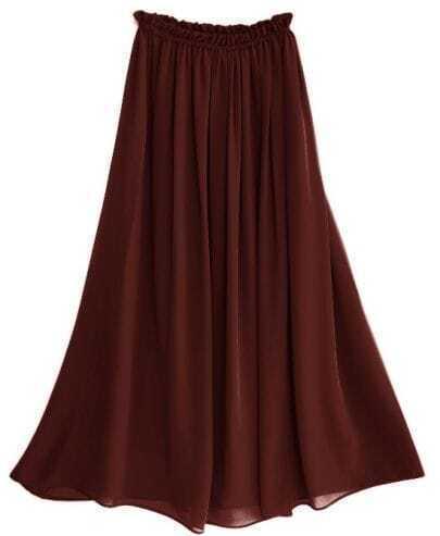 Chiffon Vintage Floor Length Skirt Brown