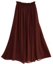 Chiffon Vintage Floor Length Skirt Brown