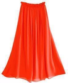 Orange Chiffon Vintage Floor Length Skirt