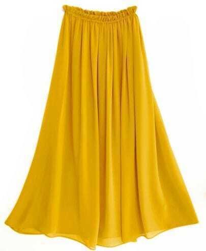 Chiffon Vintage Floor Length Skirt Yellow