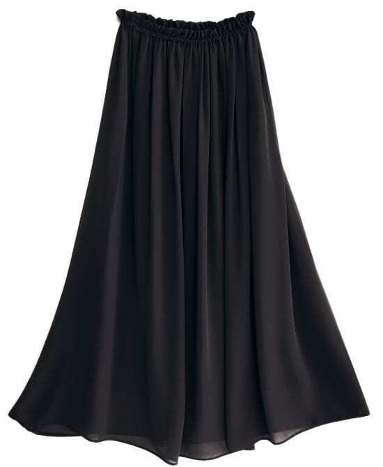 Black Chiffon Vintage Floor Length Skirt -SheIn(Sheinside)