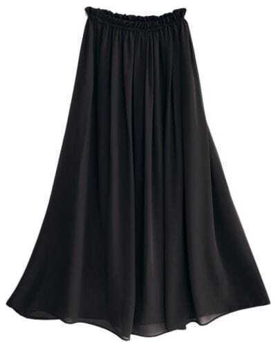 Black Chiffon Vintage Floor Length Skirt