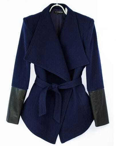 Dark Blue Designer Wool Coat with Leather Sleeve