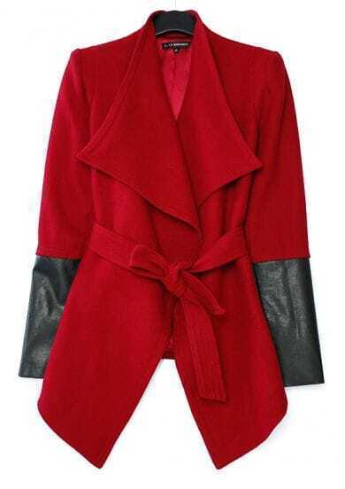 Red Designer Wool Coat with Leather Sleeve
