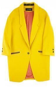 Vintage Designer 70% Wool Coat Yellow