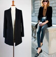 Black Wool Long Suit for Winter