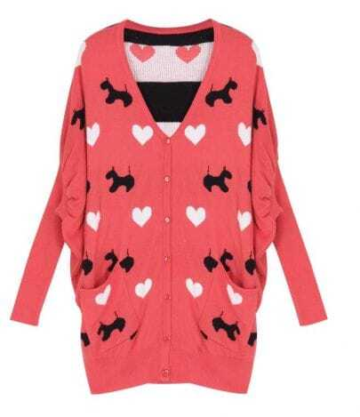 Bat Sleeve dog pattern Pink Sweater