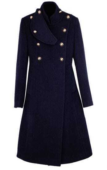 90%+ Wool Designer Navy Coat