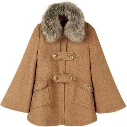 Speaker sleeve Fur collar Woolen Coat
