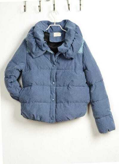 Casual loose Blue Cotton coat