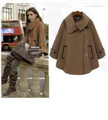 Camel Woolen Cape Coat