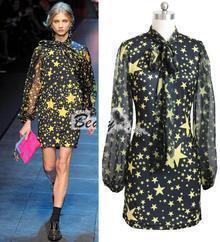 Black Star Patten Chiffon Long Sleeve Fashion Dress
