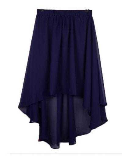 Vintage Irregular Chiffon Skirt Navy