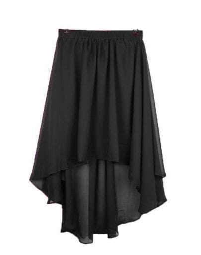 Vintage Irregular Chiffon Skirt Black