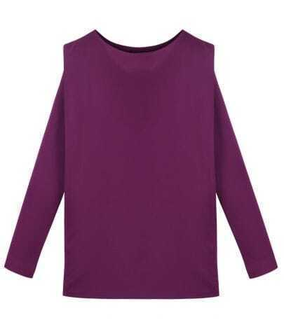 Round Neck Solid Polyester Blouse Purple