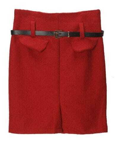 Solid Slim Straight Skirt Red