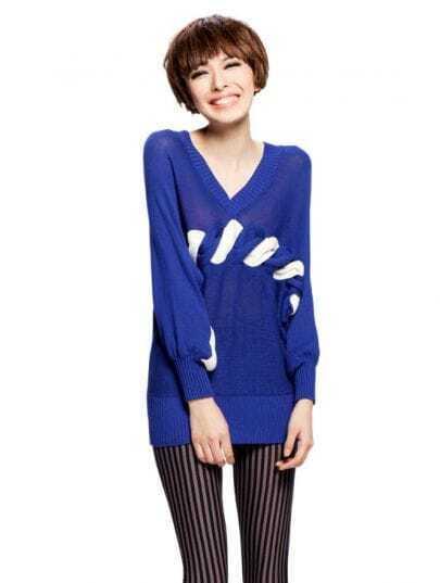 V-Neck 2012 Spring Blue Sweater