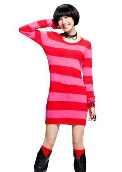 Cashmere And Angora Striped Long Sweater