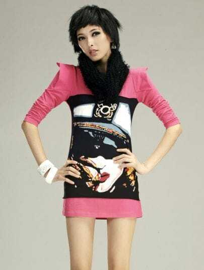Pink 100%Cotton Long Sleeve Slim T-shirt