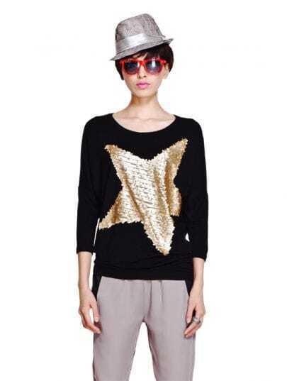 Black Sequin Star Print Long Dolman Sleeve Asymmetric Hem T-shirt