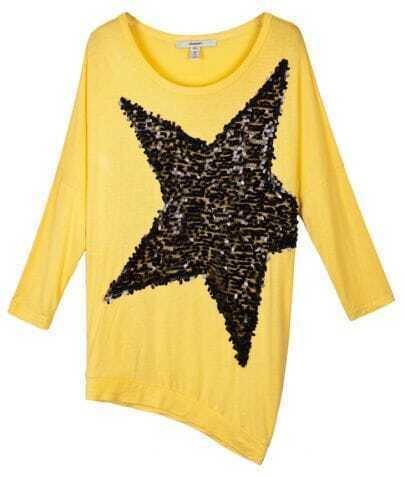 Yellow Sequin Star Print Long Dolman Sleeve Asymmetric Hem T-shirt