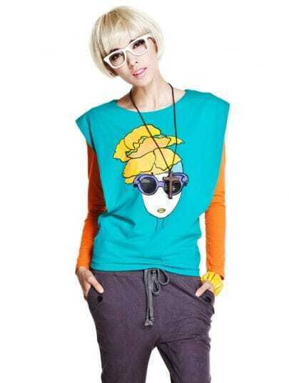 Color Block Beauty Lady Print Shoulder Pad Long Sleeve T-shirt