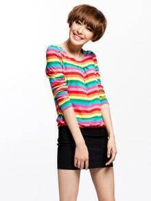 Rainbow Striped Round Neck Long Sleeve Dress