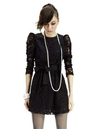 Black Long Sleeve Vintage Lace Dress